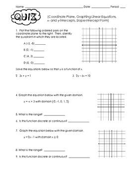 Algebra Quiz (Coordinate Plane, Slope, Intercepts, Slope-Intercept Form)