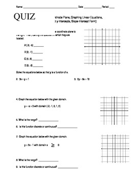 Algebra Quiz (Graphing Linear Equations)