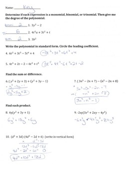 Algebra Quiz Polynomials
