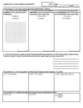 Algebra Quiz: Systems Quadratics Exponents, 2 versions, 1 page each (Editable)