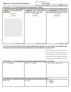 Algebra Quiz: Systems Quadratics Exponents, 2 versions, 1 page each (Editable)