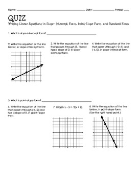 Algebra Quiz (Writing Linear Equations)