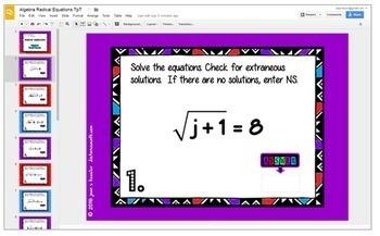 Algebra Radical Equations Digital Task cards with GOOGLE Slides