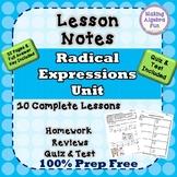 Algebra Radicals Expressions & Equations Notes HW Quiz Tes