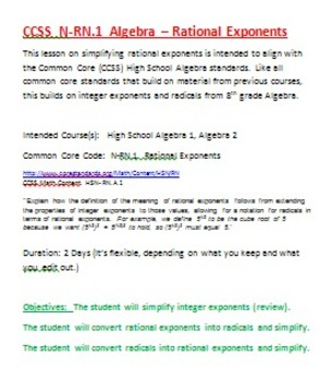 Algebra Rational Exponents CCSS N - R N .1 Lesson (Common Core) High School