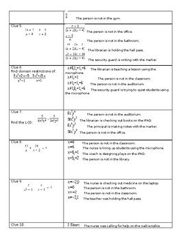 Algebra Rational Functions Expressions Equations Puzzle Activity Review