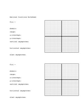 Pre-Calc:  Rational Functions Worksheet