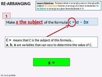 Algebra: Re-arranging Formula / Changing the Subject (Manipulating)