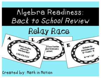 """Algebra Readiness: Back to School Review """"Relay Race"""""""