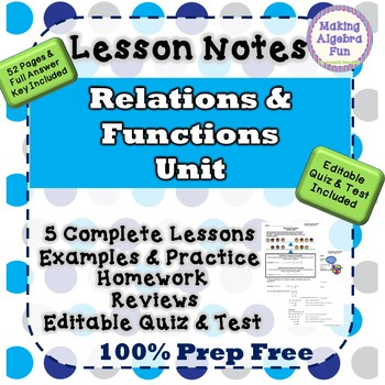 Algebra Relations Functions Lesson Notes Homework Quiz