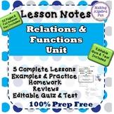 Algebra Relations & Functions Bundle Notes Homework Quiz &