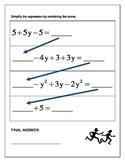 Algebra Relay Race - Combining Like Terms
