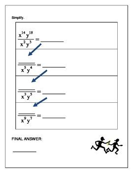 Algebra Relay Race - Exponents
