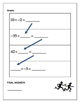 Algebra Relay Race - Operations with Integers