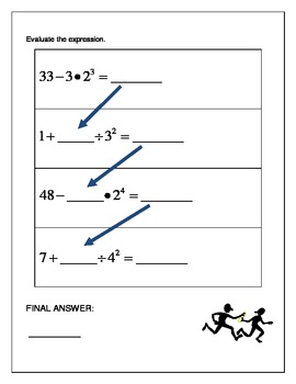 Algebra Relay Race - Order of Operations