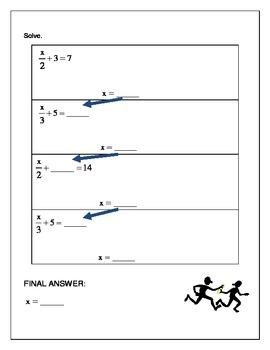 Algebra Relay Race - Solving Equations Multi Step