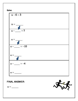 Algebra Relay Race - Solving Equations One Step