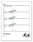 Algebra Relay Race - Solving Equations X Both Sides