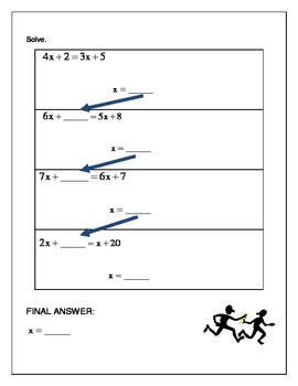 Algebra Relay Race - Solving Equations X Both Sides