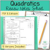 Algebra 1 Quadratic Equations Review Sheet