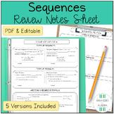 Algebra 1 Sequences Review Sheet