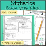 Algebra 1 Statistics Linear Regression Review Sheet