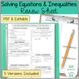 Algebra 1 Solving Equations and Inequalities Review Sheet