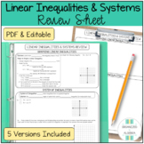 Algebra 1 Linear Inequalities and Systems Review Sheet