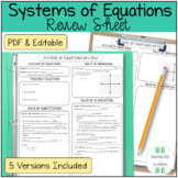 Algebra 1 Systems of Equations Review Sheet
