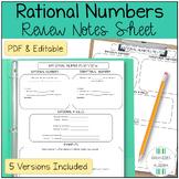 Algebra 1 Rational Numbers Review Sheet