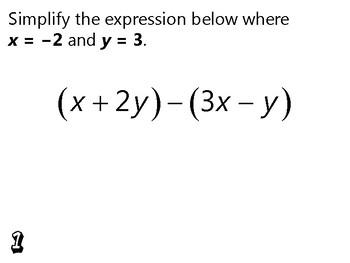 Algebra Review Activity - Evaluating Algebraic Expressions