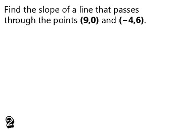 Algebra Review Activity - Finding Slope