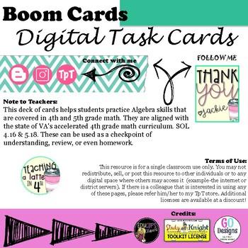 Algebra Review Boom Cards