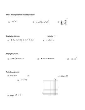 Algebra Review Exam