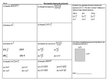 Algebra Review - Exponents