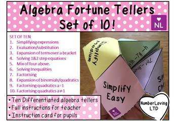 Algebra Review (Fortune Teller/Cootie Catcher)