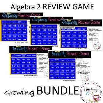 Algebra Review Game Growing Bundle