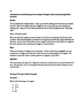 Algebra Review Guide - Integers