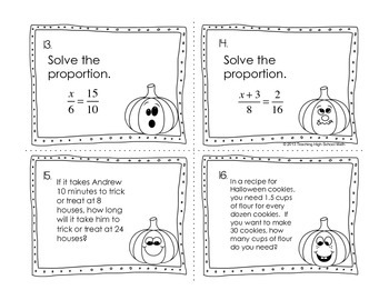 Algebra Review Halloween Stations Task Cards