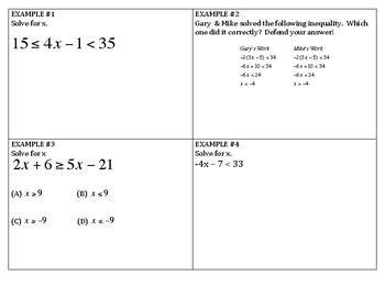 Algebra Review - Inequalities