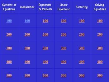 Algebra Review Jeopardy Game