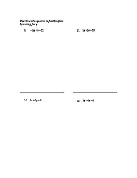 Algebra - Review Packet for Ordered Pairs and Linear Equations