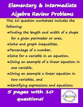Algebra Review Problems