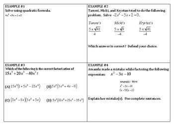 Algebra Review - Quadratics