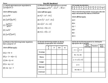 Algebra Review - Question Types