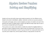 Algebra Review - Solving and Simplifying - 4 Puzzles