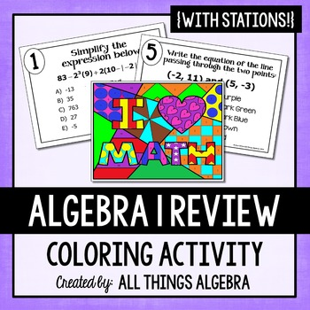 Algebra Review Stations Coloring Activity