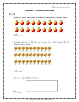 Algebra Review - Third Grade CCSS