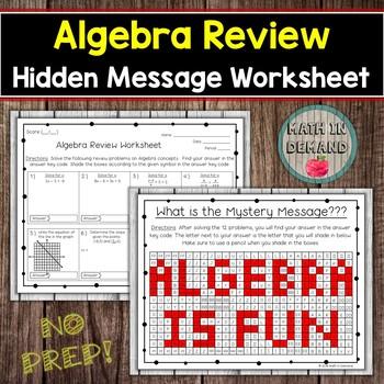 Algebra Review Worksheet