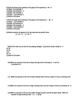 Algebra Review and 2 Test Version Writing Equations Unit